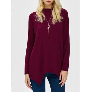 Long Sleeve High Neck Asymmetric Hem Tee