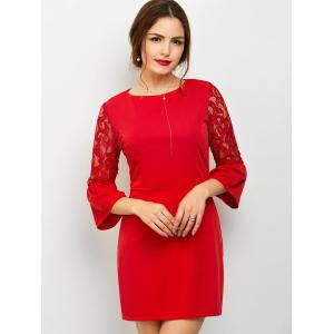 Flare Sleeve Lace Panel Mini Dress - Red - M