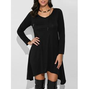 Loose Asymmetrical T-Shirt Dress With Sleeves -