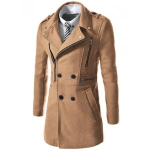 Asymetrical Zipper Lapel Wool Blend Coat