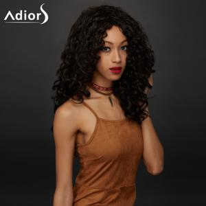 Long Side Parting Shaggy Curly Synthetic Wig - DEEP BROWN