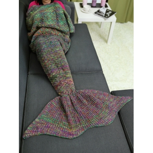 Crochet Knit Home Decor Mix Color Mermaid Blanket Throw