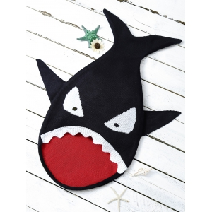Baby Cartoon Shark Shape Blanket Throw Personalized - Black - 2xl