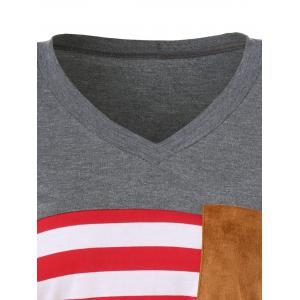Striped Elbow Patch Longline T-Shirt - GRAY/RED L