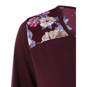 Floral Print Asymmetric Tunic T-Shirt - WINE RED XL