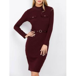 Mock Neck Long Sleeve Bodycon Office Dress With Belt