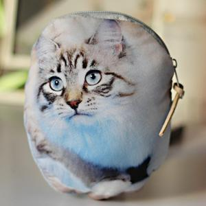 3D Cat Print Coin Purse - Blue