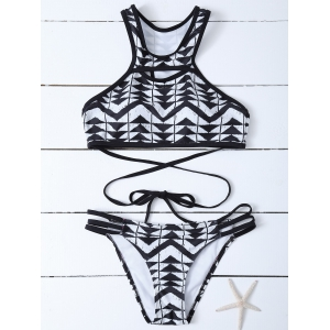 Aztec Print High Neck 2 Piece Swimsuit