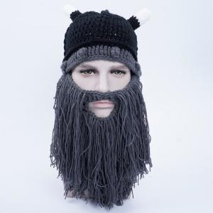 Faux Mustache Knit Animal Head Beanie Hat - Black