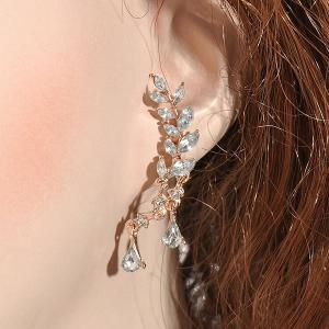 Rhinestone Tree Leaf Teardrop Earrings - GOLDEN