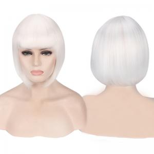 Candy Color Short Neat Bang Straight Synthetic Cosplay Wig
