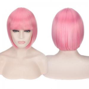 Candy Color Short Neat Bang Straight Synthetic Cosplay Wig - Pink - One Size