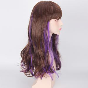 Long Full Bang Wavy Purple Highlights Synthetic Cosplay Wig -