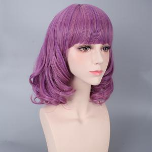 Medium Neat Bang Culrly Harajuku Synthetic Cosplay Wig -
