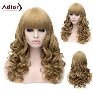 Adiors Long Neat Bang Fluffy Wavy Party Synthetic Wig - Flax
