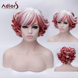 Adiors Short Inclined Bang Colormix Curly Party Synthetic Wig