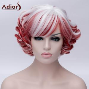 Adiors Short Inclined Bang Colormix Curly Party Synthetic Wig - COLORMIX