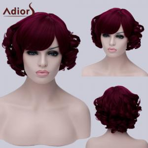 Adiors Short Inclined Bang Curly Party Synthetic Wig - Colormix