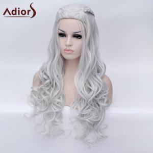 Adiors Braided Long Fluffy Wavy Party Synthetic Wig - SILVER WHITE