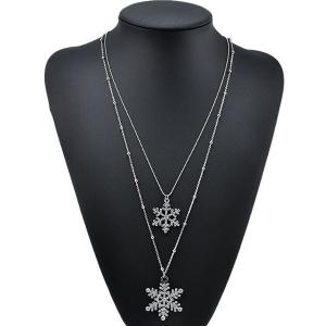 Rhinestone Snowflake Layered Necklace