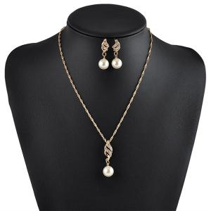 Artificial Pearl Rhinestone Necklace with Earrings