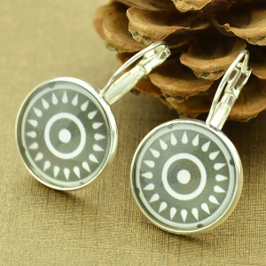 Clip on Earrings with Sun Pattern Round Pendant