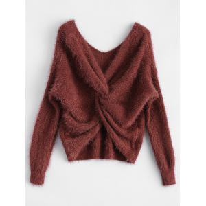 Twisted Back Chenille Sweater - Claret - One Size