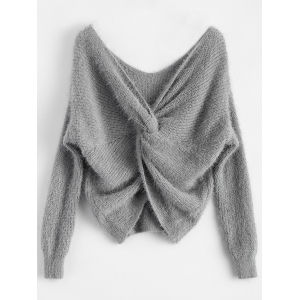Twisted Back Chenille Sweater - Gray - One Size