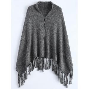 Button Front Marled Tasselled Poncho - Gray - One Size