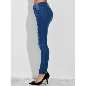High Waist Distressed Jeans - DEEP BLUE S