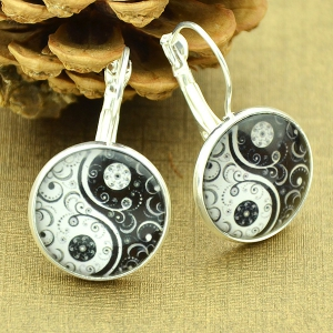 Clip on Earrings with Taiji Pattern Round Pendant - Silver