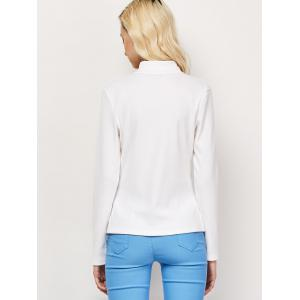 High Neck Cut Out Long Sleeve Fitted T-Shirt - WHITE 2XL