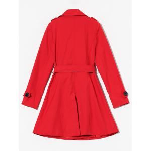 Double Breasted Skirted Tie Belt Trench Coat -