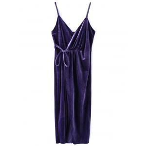 Mini Sleeveless Velvet Cami Wrap Dress