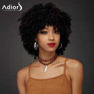 Adiors Short Oblique Bang Towheaded Curly Synthetic Wig - COLORMIX