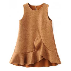 Ruffle Suede Tank A Line Dress
