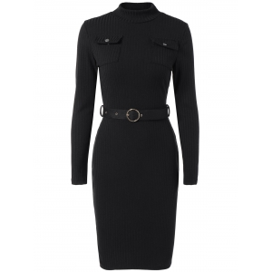 Mock Neck Long Sleeve Bodycon Office Dress With Belt -