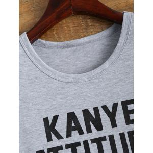 Letter Print Roll Sleeve Funny T-Shirt -