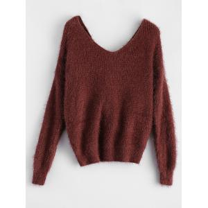 Twisted Back Chenille Sweater - CLARET ONE SIZE