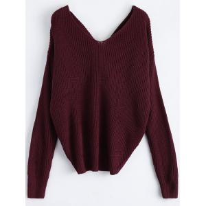 V Neck Twisted Back Sweater -