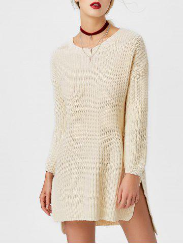 Outfit Crew Neck High Low Chunky Knit Sweater