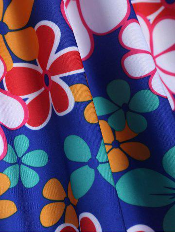 New Refreshing Square Collar Floral Print Short Sleeve Swimsuit For Women - 3XL SAPPHIRE BLUE Mobile