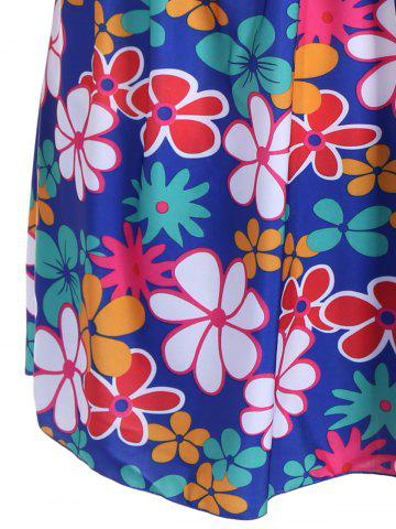 Affordable Refreshing Square Collar Floral Print Short Sleeve Swimsuit For Women - 3XL SAPPHIRE BLUE Mobile