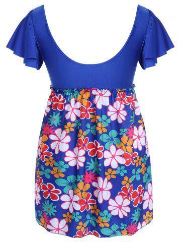 Affordable Refreshing Square Collar Floral Print Short Sleeve Swimsuit For Women - 5XL SAPPHIRE BLUE Mobile