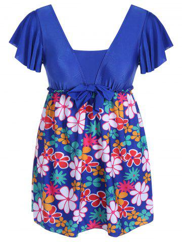 Affordable Refreshing Square Collar Floral Print Short Sleeve Swimsuit For Women - 6XL SAPPHIRE BLUE Mobile