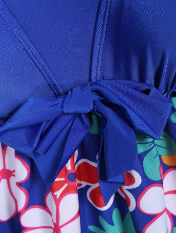 Trendy Refreshing Square Collar Floral Print Short Sleeve Swimsuit For Women - 6XL SAPPHIRE BLUE Mobile