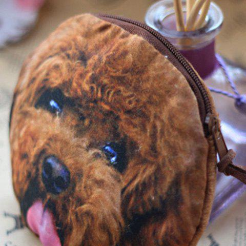 Online 3D Dog Print Coin Purse - BROWN  Mobile