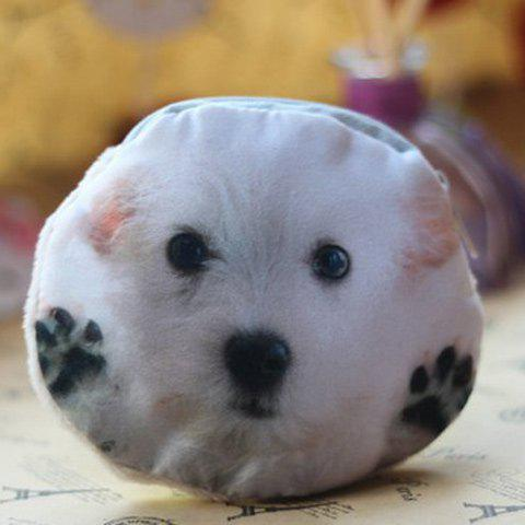 Affordable 3D Dog Print Coin Purse WHITE