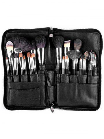 32 Pcs Animal Hair Makeup Brushes Set with Waist Bag - Black - Eu Plug
