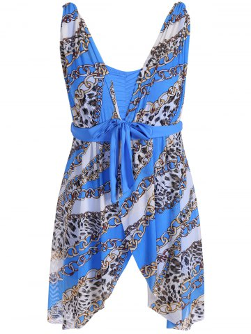New Graceful Plunging Neck Chain and Leopard Print Asymmetrical One-Piece Swimwear For Women - 4XL BLUE Mobile